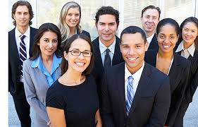 Picture of men and women wearing business suits
