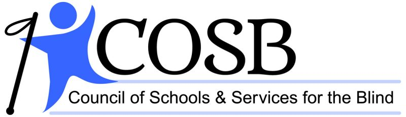 Logo of outline of person holding a cane, with letters COSB and below words Council of Schools and Services for the Blind