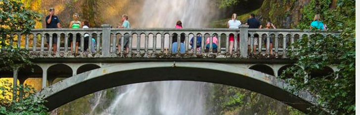 arched bridge overlooking waterfall in Washington State