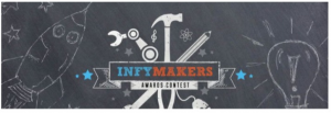 Logo for 'InfyMaker' Contest by InfoSys Foundation, an image of robotic and traditional tools surrounding text