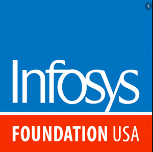 Square logo with white type in blue and red fields that reads Infosys Foundation USA