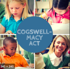 "Image divided into 4 quadants, each with an image of a child or teacher. In center is circle with words ""Cogswell-Macy Act'"