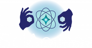 SciAccess logo: Two hands on either side of an atom illustration